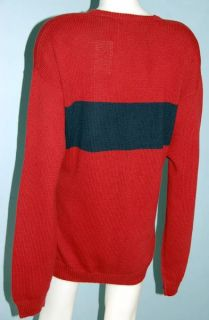 IZOD Mens NWT Red Blue Heavy Cotton Sweater Cardigan Knit Shirt Jacket