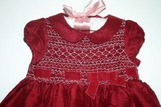Janie and Jack Tartan Rose Red 100 Silk Dress 3 6 MO Christmas Holiday