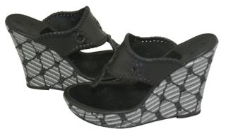 Jack Rogers Marbella Straw Black Stripe Platform Wedge Sandals 10 New