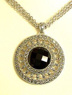 Judith Jack Sterling Black Onyx Marcasite Necklace