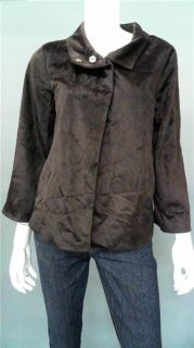 Jaclyn Smith Ladies Womens L Faux Fur Basic Button Jacket Brown
