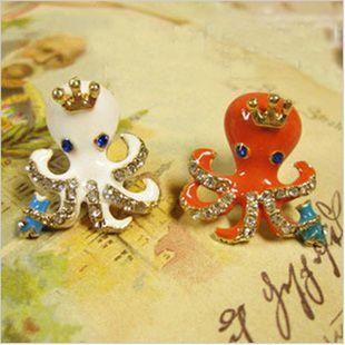 Betsey Johnson White Small Octopus Earrings