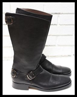 Mens Kenneth Cole Tall Black Motorcycle Engineer Patrol Boots Size 9