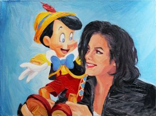 Michael Jackson and Pinocchio Colourful Oil Painting Canvas Hand