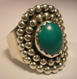 NATIVE AMERICAN GREEN TURQUOISE STERLING SILVER RING J JOHNSON10 5