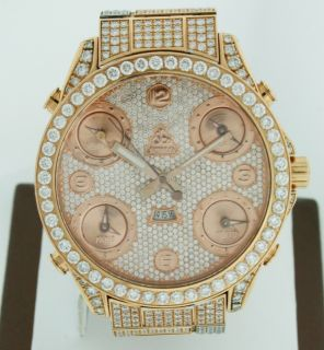 Jacob Co 5 Time Zone with Date All Diamond 47mm 18K Rose Gold Mens