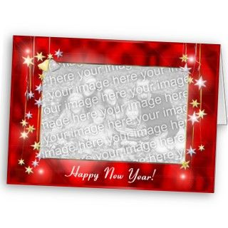 Happy New Year Stars (photo frame) Cards