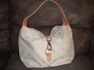 Dooney Bourke Signature Hobo Slouch Lock Jacquard Handbag Tan