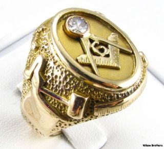 18ct Diamond MASONIC Master Mason RING   14k Yellow Gold Hefty 20g