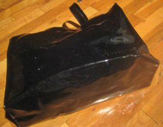 Jacques Dessange Paris Black Vinyl Patent Leather Tote Bag Purse