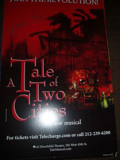 of Two Cities Signed Poster Window Card Broadway James Barbour