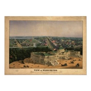 1892 Washington DC Birds Eye View Panoramic Map Print