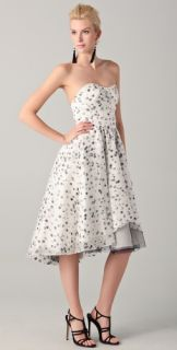 Lela Rose Strapless Seamed Bodice Dress