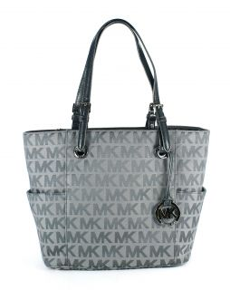 Michael Kors Jet Set East West Signature Tote Ice Slate Gunmetal New