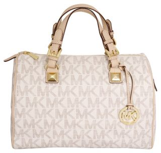 Michael Kors Grayson Large Satchel Bag Vanilla Logo PVC New