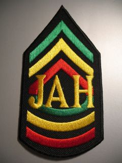 Jah Rasta Army Sergeant Stripes Chevrons Iron on Patch
