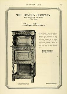 1925 Ad Hayden Co Antique Furniture Jacobean Oak Cupboard Carved Home