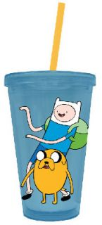 Adventure Time Finn and Jake 16 oz Lidded Cup with Straw