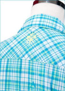 Puma Jamaica Beach Mens Short Sleeve Shirt Sky Blue Plaid Asia Size