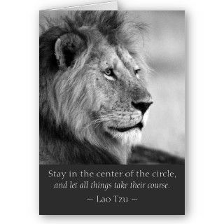 Black and white photo greeting card of a male lion with a famous Lao