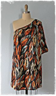 So Luxe Silk Feather Print Jaloux Anthropologie Single Shoulder Dress