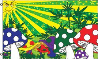 x5 Mushroom Marijuana Flag Pot Weed Bud Smoking Joint Psychedelic