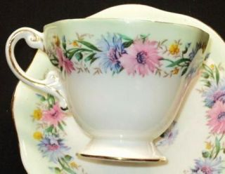 EB Foley England Pink Blue Cornflower Gold Green Tea Cup and Saucer