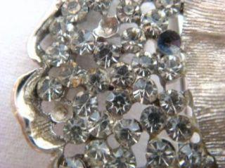 Vintage B. Steinberg Kaslo Co. BSK Silver Rhinestone Leaf Brooch Pin