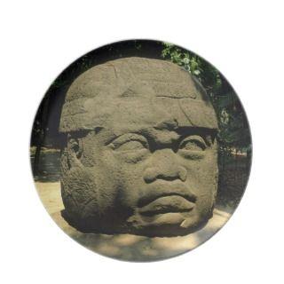 Mexico, Villahermosa, giant Olmec head, La Venta Party Plate