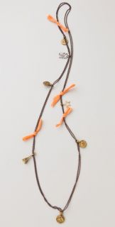 Maison Scotch Charms & Orange Ribbon Necklace