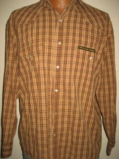 Mens Plaid JESSE JAMES West Coast Choppers Pearl Snap Work Shirt Size
