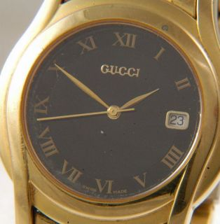 Genuine Gucci 5400M Gold Plated Quartz Gents Watch P03
