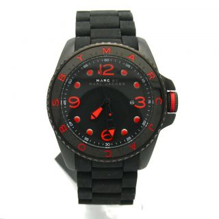 Marc Jacobs Black Stainless Steel Rubber Mens Diver Dive Sport Watch