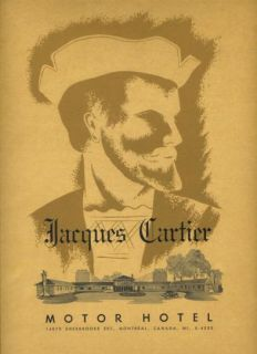 Jacques Cartier Motor Hotel Menu Montreal Canada 1950S