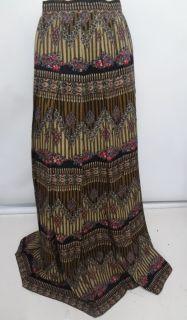 Jaeger Multi Color Long Pleated Wool Skirt 12 UK 10 US Vintage Made in