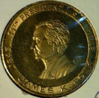 James K Polk US Mint Version 2 Commemorative Brass Medal Token Coin