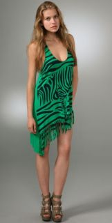 Tbags Los Angeles Zebra Fringe Tunic