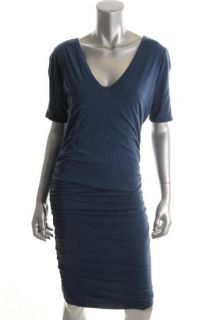 James Perse New Blue Shirred Double V Neck Short Sleeve Casual Dress 4