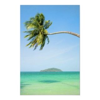 Exotic tropical scenery, palm tree leaning over the ocean in Thailand