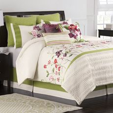 Jardin Green Purple Red Floral King Comforter Set