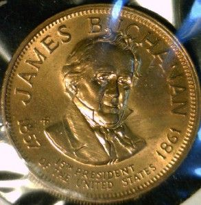 James Buchanan Franklin Mint Commemorative Bronze Medal Token Coin