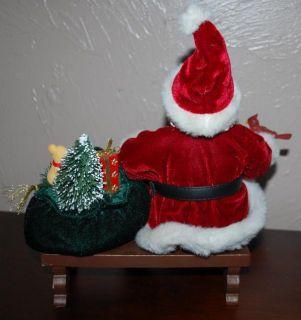 FABRICHE CHRISTMAS PARK BENCH SANTA CLAUS FEEDING CARDINAL BIRD 11