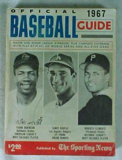 Official 1967 Baseball Guide The Sporting News Sandy Koufax Roberto
