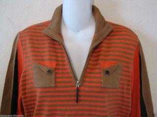 Jamie Sadock Golf Pink Brown Black Stripe Sweater Size Small Silk