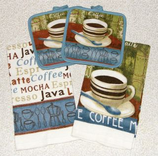 COFFEE Time Mocha Latte Espresso Java Blue Green Kitchen Towels + Pot