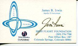 James Jim Irwin NASA Astronaut Apollo Moonwalker Signed Autograph Biz