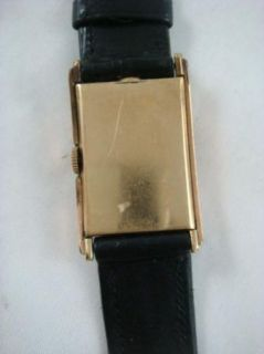 Vintage Lord Elgin Mens Wrist Watch Omega Black Gold Accent Leather