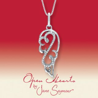 Open Hearts by Jane Seymour Angel Wing Diamond Necklace