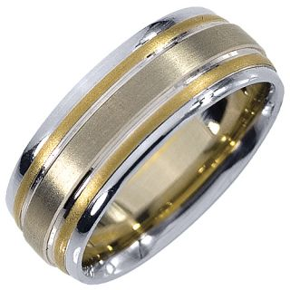 Mens Wedding Band Engagement Ring 14kt Yellow White Two Tone Gold 7mm