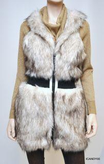 Rock Stella Jamie Faux Fur Lined Vest Top Coat Jacket White Black M